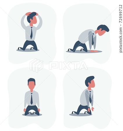 Sad unhappy businessman office worker manager standing on his knees. Set . 72699712