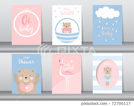 Set of baby shower invitation cards,poster,template,greeting,cute,bear,animal,Vector illustrations 72700117