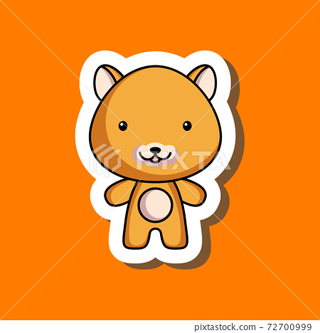 Cute cartoon sticker little hamster. Mascot animal character design for for kids cards, baby shower, posters, b-day invitation, clothes. Colored childish vector illustration in cartoon style. 72700999