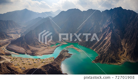 Hatta Dam Lake in eastern region of Dubai, United Arab Emirates aerial panorama 72701908