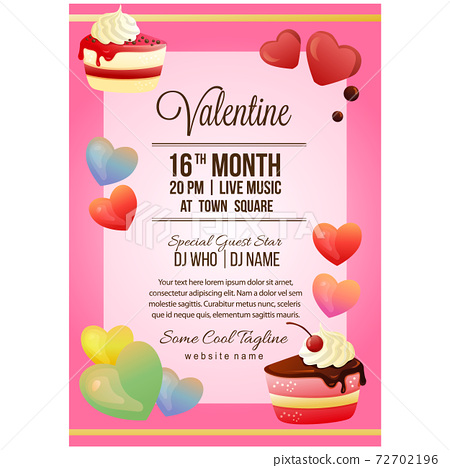valentine party poster template with slice of chocolate cake 72702196