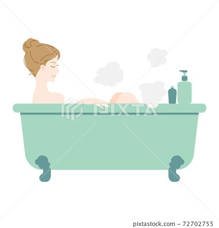 一個女人舒服地洗個澡 72702755