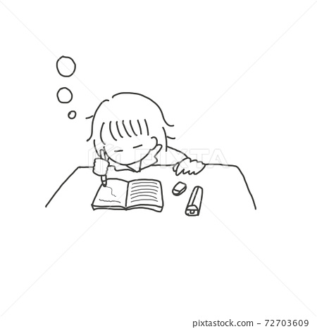 Girl falling asleep while studying (black and white) 72703609
