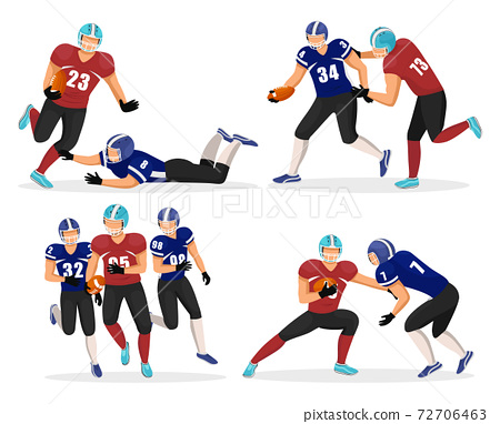 American Football Teams, Gridiron Players Vector 72706463