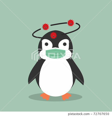 Penguin animal wearing medical mask 72707650