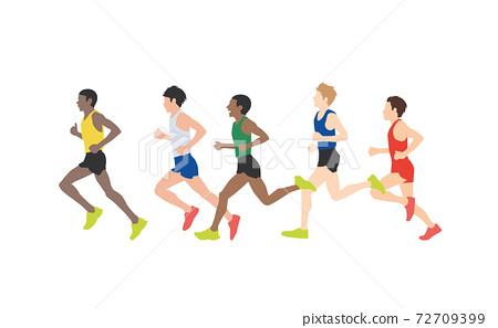 田徑運動員插圖馬拉松運動員矢量素材 72709399