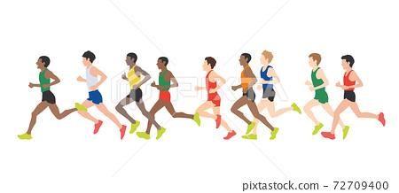 田徑運動員插圖馬拉松運動員矢量素材 72709400