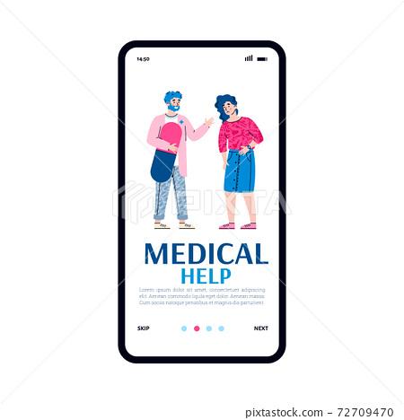 Onboarding mobile page design for medical help app cartoon vector illustration. 72709470
