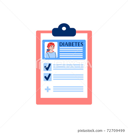 Clipboard with record of diabetic patient flat vector illustration isolated. 72709499