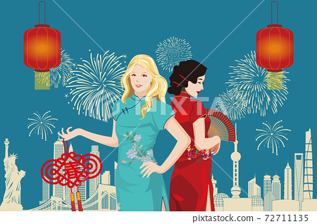 young caucasian and asian women in traditional chinese clothing (qi pao) celebrating lunar new year 72711135