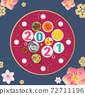vector design of lunar new  year greeting card with chinese dishes on dining table 72711196