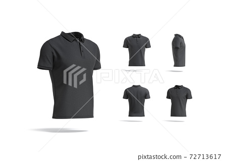 Blank black polo shirt mock up, different views 72713617