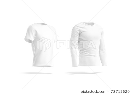 Blank white t-shirt and longsleeve mock up, side view 72713620