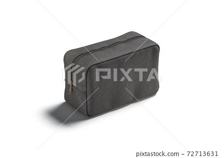 Blank black canvas cosmetic bag mockup, side view 72713631