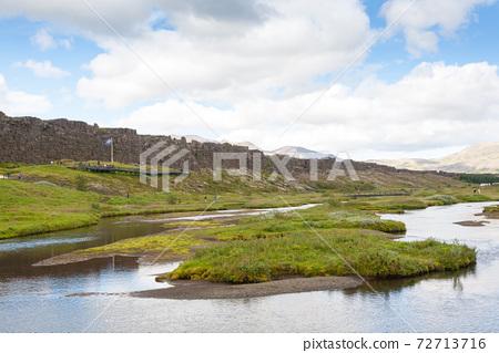 Thingvellir site, famous Icelandic landmark. Golden circle 72713716