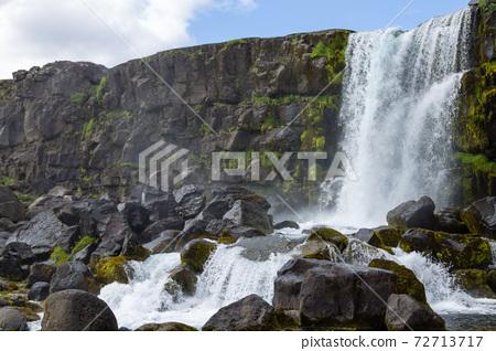 Oxararfoss waterfall summer day view, Thingvellir, Iceland 72713717