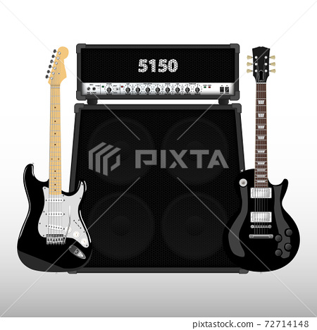 Realistic guitar and amplifier, vector illustration 72714148