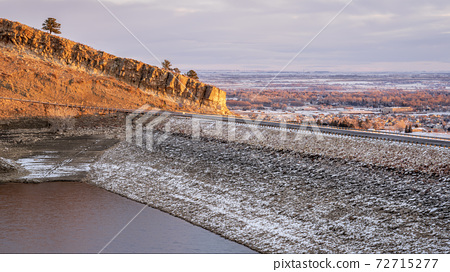 sunrise light over Horsetooth Reservoir and Fort Collins 72715277