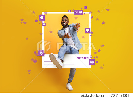 African American guy dancing and jumping out of photo frame on yellow background, collage with social media reactions 72715801