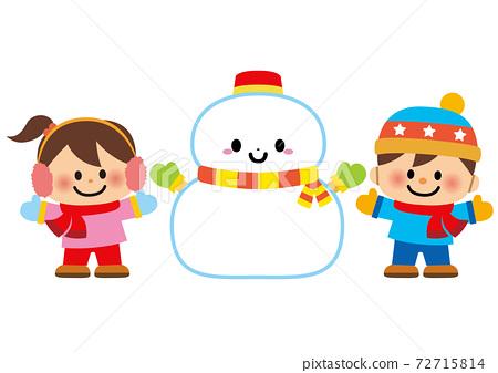 雪人和孩子 72715814