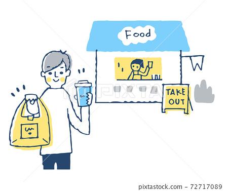 一個在外賣店購買食物和飲料的人 72717089