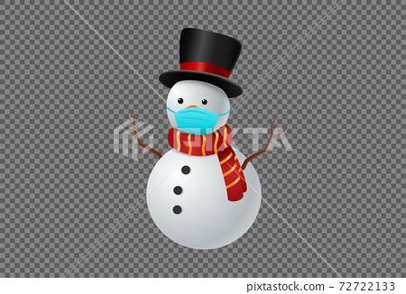 Snowman wearing  medical  face mask ,hat and scarf isolate on png or transparent  background, Christmas  during Covid-19 pandemic concept graphic resources  for  ,New  Year, Birthdays, vector  72722133