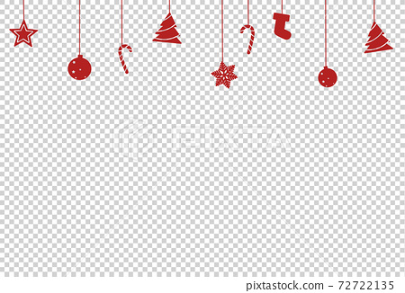 Christmas decoration, star, ball, tree candy, shoes hanging from top isolated  on png or transparent  background, space for text, sale banner template , New Year, Birthdays,  luxury card, vector  72722135