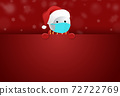 Snowman wearing medical mask holding banners, billboards, Christmas during Covid-19 isolate on red  background graphic resources  for web, promote , sales New  Year, vector  72722769