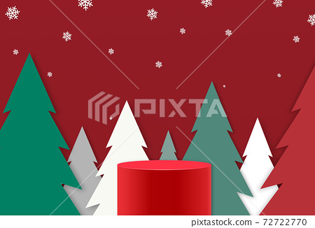 Red podium or  showcase to place products  isolate on red  background with falling snow, tree, forest, 3d paper cut style,for new product, promotion, advertising, vector illustration  72722770