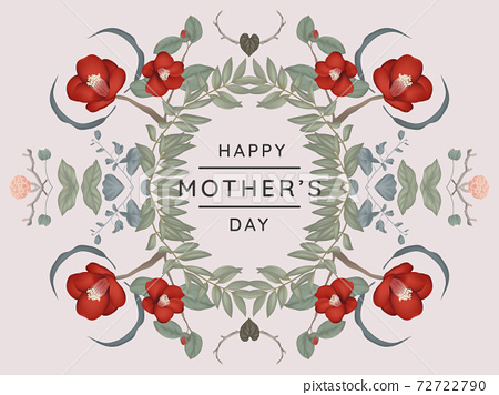 Happy mother's day greeting card design, mirror effect/ symmetry camellia and other flowers wreath 72722790
