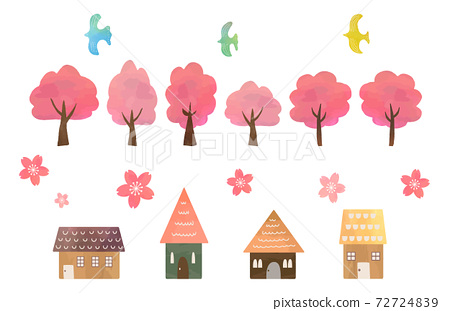水彩風格的櫻桃樹,櫻花,房子,鳥集 72724839