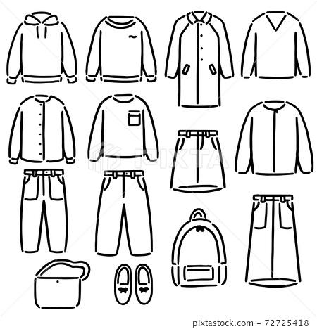 衣服時尚單色插圖集 72725418