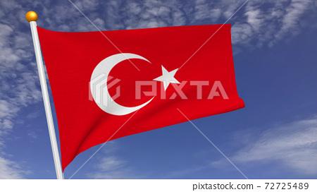 土耳其國旗在風中飄揚 72725489