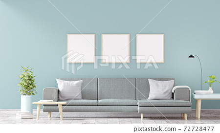 Modern vintage interior of living room - 3D Rendering 72728477