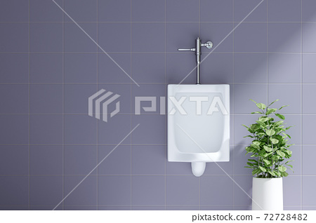 A Row of Urinals in Tiled Wall in a Public Toilet-3D Rendering 72728482