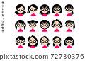 터틀넥을 입은 여자 아이콘 세트 72730376