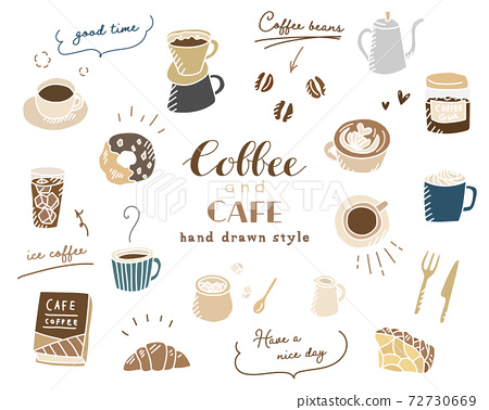手繪咖啡,咖啡廳插畫/套裝/咖啡/素描/糖果/馬克杯/時尚 72730669