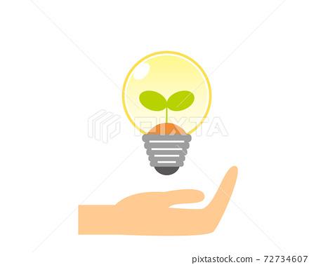 環境/生態矢量插圖集手燈泡 72734607