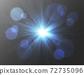 閃爍的藍光閃爍的光線和散佈的光線和耀斑 72735096