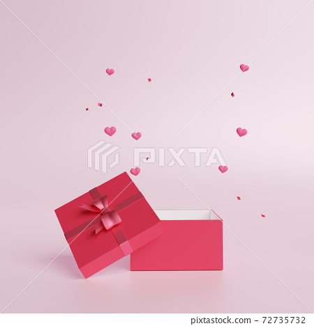 3D of Valentines hearts with gift box  for Happy Women's, Mother's, Birthday. 72735732
