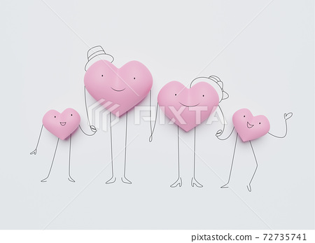 3D of hearts characters as symbols of love and family.  Happy Family Day.  Insurance, Health care  concept. 72735741