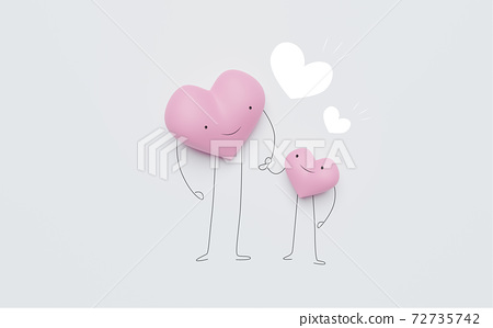 3D of hearts characters as symbols of love and family.  Happy Mother's Day.  Insurance, Health care  concept. 72735742