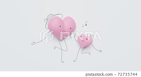 3D of hearts characters as symbols of love and family.  Happy Mother's Day.  Insurance, Health care  concept. 72735744