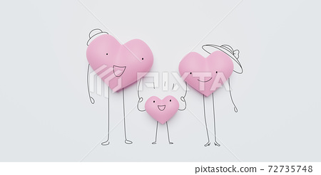 3D of hearts characters as symbols of love and family.  Happy Family Day.  Insurance, Health care  concept. 72735748