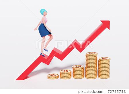 3D cartoon character, Business women walk on the red arrow up. Concept business, Achievement, Character, Leader 72735758
