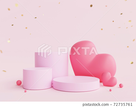 3D mock up scene with red  hearts. geometry podium shape for display product, present and advertising for Valentine's day. 72735761