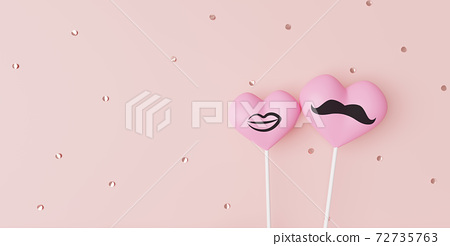 Two pink hearts. Couple in love concept, 3D rendering 72735763
