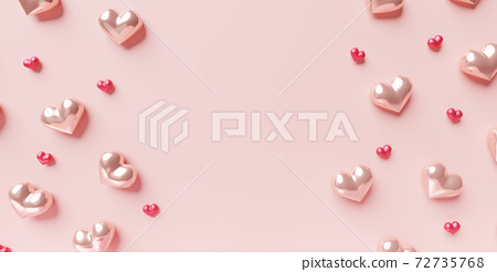 Hearts background. 3D concept of love for Happy Women's, Mother's, Valentine's Day, birthday greeting card, banner design. 72735768