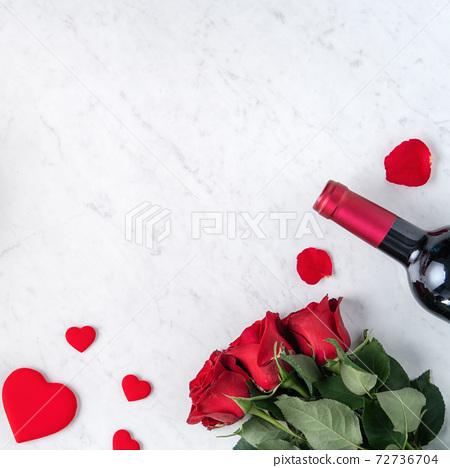 情人節 大餐 紅酒 玫瑰 禮物盒 Valentine Day Wine Gift バレンタイン 72736704