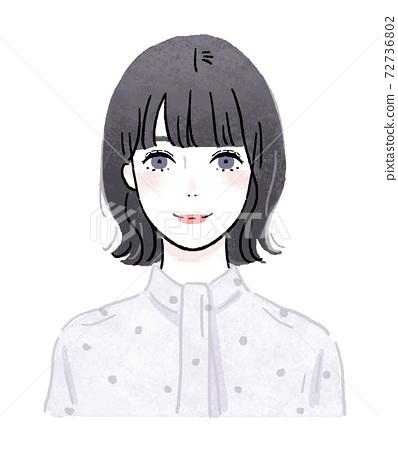一個女人(上半身)的水彩插圖 72736802